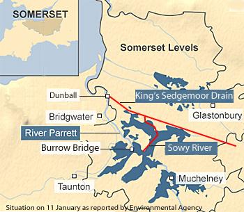 Somerset Levels Flooding Map Major role for Dutch pumps in new relief effort flood ridden