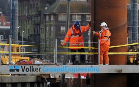 Employee VolkerStevin construction Ipswich flood barrier