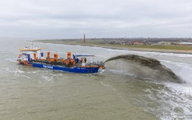 Dredger Vox Amalia on first job near Den Helder, the Netherlands