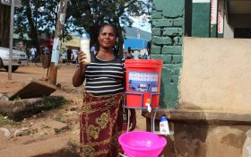 Locally produced household water filter for hand washing and fight covid-19