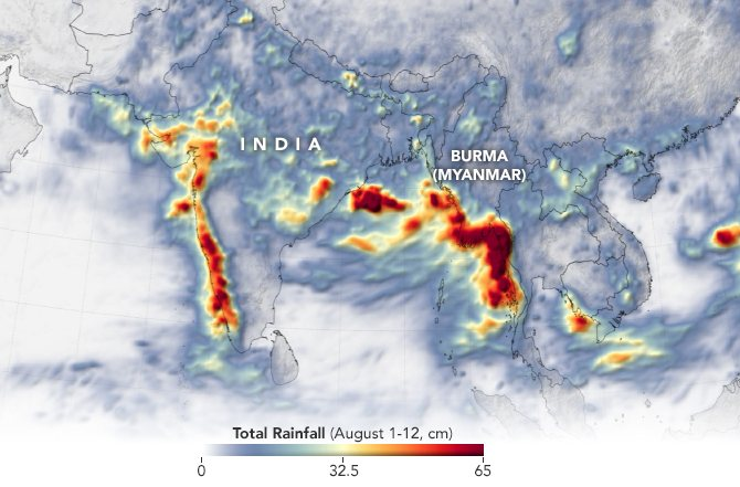 NASA map showing extreme rainfall in Myanmar 1-12 August