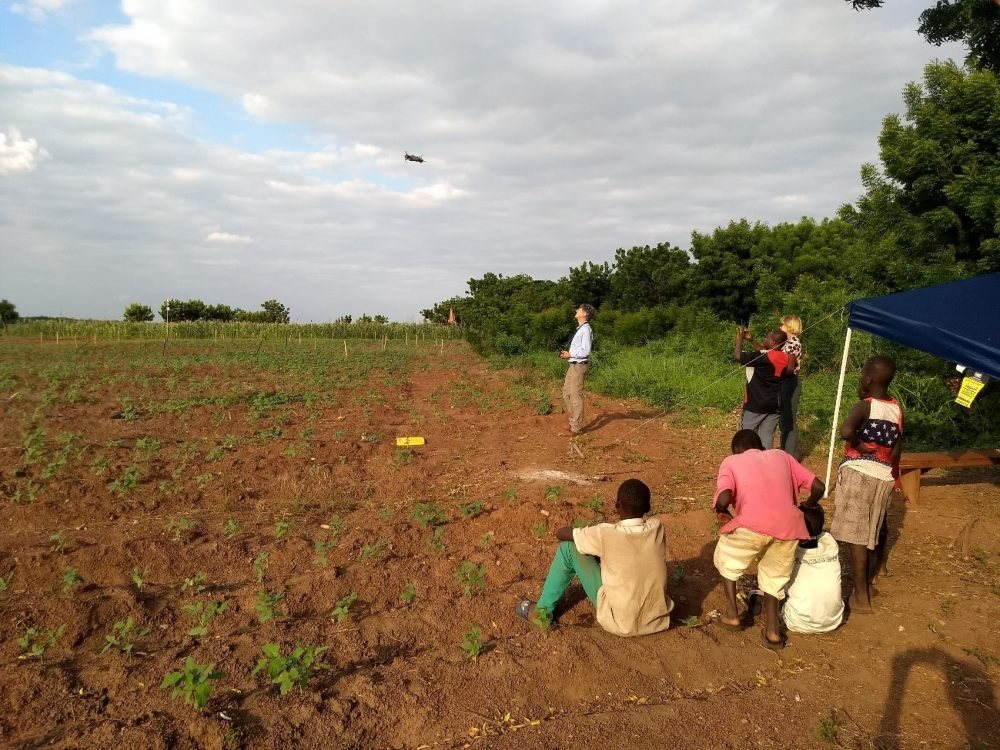 HiView taking thermal images with a flying sensor over farm land in Ghana