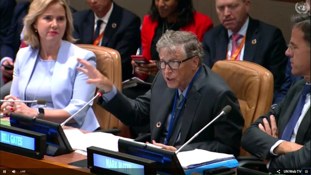 Bill Gates at launch of year of action on climate adaptation at UN headquarters