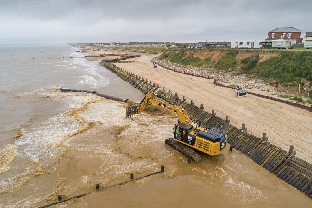 First sand arrives on the beach of Bacton, UK