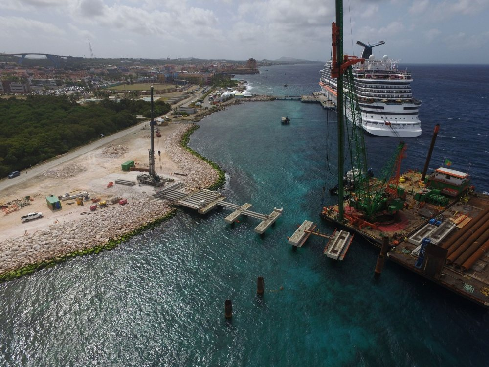 BAM completed construction of a pier for cruise ships on Curacao in 2017
