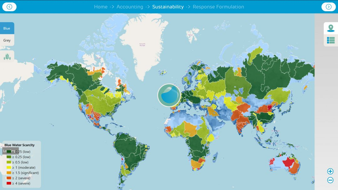 Worldwide Water footprint map with water scarce areas in red