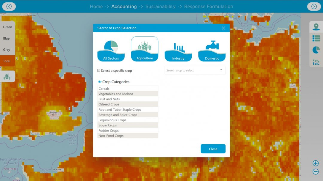 Screen dump of Water footprint assessment tool