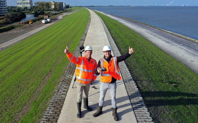 Completion of reinforcement sea wall near Delfzijl, the Netherlands