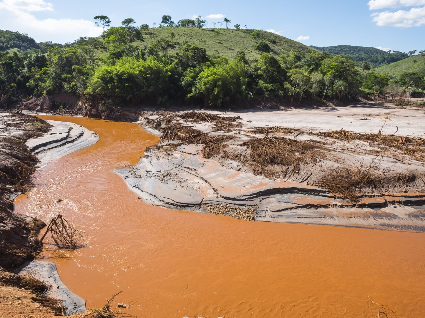 View of Gualaxo do Norte river destroyed due to the mud tsunami after the collapse of Samarco's Fundao mining dam.