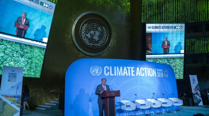 Secretary-General António Guterres (at podium) opens the UN Climate Action Summit 2019.