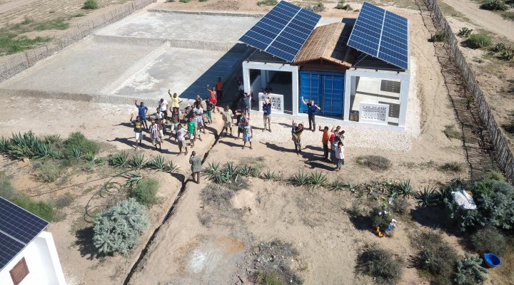 Off-grid desalination plant in Efoetsy, provided by Elemental Water Foundation