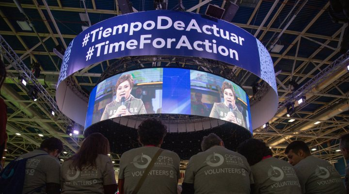 Slogan of COP25 in Madrid - time for action