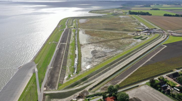 Twin dike section of sea levee near Delfzijl, the Netherlands