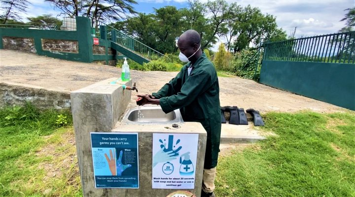 Demonstration of Covid-19 hygiene practices at Naivasha treatment plant, Kenya